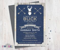 Rustic Deer Baby Shower Invitations Navy, Tan and Gray by SwankyPrintables