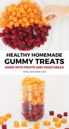 Gelatin Gummies With Fruits And Vegetables Homemade fruit and vegetable gummies made with gelatin and maple syrup. These are healthy treat fo Gelatin Recipes, Fruit Recipes, Candy Recipes, Baby Food Recipes, Healthy Recipes, Recipes With Beef Gelatin Powder, Carrot Recipes, Recipies, Fruit Chews