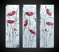Abstract Acrylic Painting Red Poppies Floral by acrylkreativ