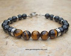Golden Brown Tiger Eye and Black Onyx Mens Beaded Bracelet