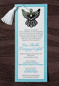 Separadores de Páginas en forma de Angelitos adheridos a una fina tarjeta. Personalizada a su gusto.