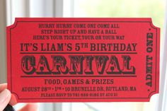 Carnival Ticket Birthday Invitations Best Of Carnival Birthday Party Ideas Carnival Party Circus Carnival Party, Circus Theme Party, Carnival Birthday Parties, Carnival Themes, Birthday Party Themes, 5th Birthday, Creepy Carnival, Birthday Ideas, Party Box