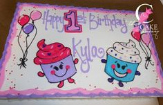 Cupcake birthday cake Cupcake Birthday Cake, Cupcake Icing, Cupcake Cookies, Dairy Queen Cake, Slab Cake, Queen Cakes, Buttercream Fondant, Vintage Cakes, Bakery Cakes