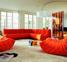 Togo Sofa Sectional by Michel Ducaroy for Ligne Roset. Still in production and continues to be one of Ligne Roset's best sellers. Sofa Design, Modern Furniture, Furniture Design, Sofa Furniture, 3d Warehouse, Spacious Living Room, Living Rooms, Corner Sofa, Room Colors
