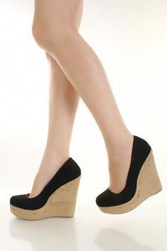 37a57c0d7750 Black Linen Canvas Round Closed Toe Espadrille Wedges   Amiclubwear Wedges  Shoes Store Wedge Shoes
