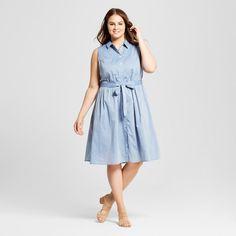 Women's Plus Size Sleeveless Button Up Shirt Dress - Who What Wear