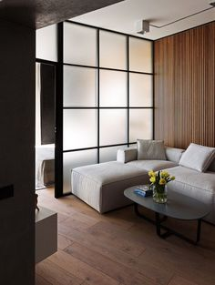 Skyline Residence Loft Apartment Skyline Residence Loft Apartment Sergey Makhno Architects on Behance Condo Interior Design, Small Apartment Interior, Small Apartment Design, Small Apartments, Condo Design, Studio Apartment Divider, Studio Apartment Layout, Studio Apartment Decorating, Modern Studio Apartment Ideas