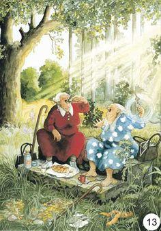 Inge Look Postkaarten 65 nuala art Illustrations, Illustration Art, Old Lady Humor, Old Folks, Whimsical Art, Old Women, Love Art, Monet, Photo Art