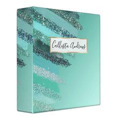 Shop Aquamarine Green Blue Glitter Painted Brushstrokes 3 Ring Binder created by _LaFemme_. Glitter Paint, Blue Glitter, Glitter Home Decor, Ombre Background, Recipe Binders, Office Essentials, 3 Ring Binders, Binder Inserts, Binder Design