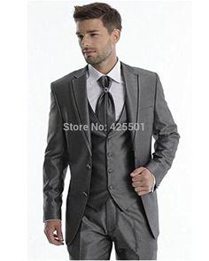 New Arrival Groom Tuxedo Dark Grey Groomsmen Notch Lapel Wedding Dinner  Suits Best Man Bridegroom (Jacket+Pants+Tie+Vest) d349e1ee022