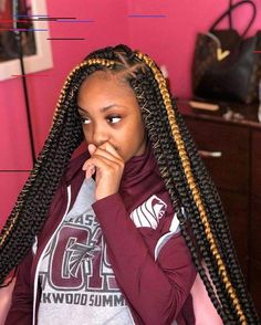 Scarlet Triangle Box Braids with Wrapping Detail - 20 Unrivaled Triangle Braids to Try - The Trending Hairstyle Blonde Box Braids, Braids With Curls, Black Girl Braids, Girls Braids, Braids With Weave, Colored Box Braids, Jumbo Box Braids, Braids For Short Hair, Long Braids