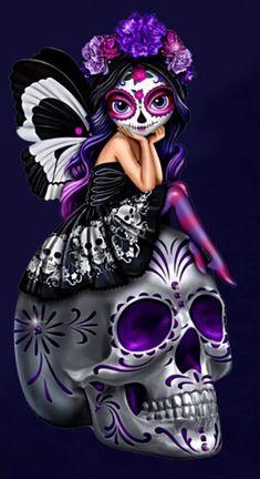 Witchy Wallpaper, Skull Wallpaper, Sugar Skull Tattoos, Ear Tattoos, Celtic Tattoos, Sleeve Tattoos, Sugar Skull Artwork, Day Of The Dead Girl, Sugar Skull Girl