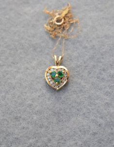 14K Yellow Gold Emerald and Simulated Diamond Heart Necklace | Etsy Real Gold Jewelry, Vintage Jewelry, Unique Jewelry, Diamond Heart, Pearl Pendant, Beautiful Necklaces, Yellow, Stones, Etsy