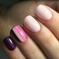 Modern nails, Nail art stripes, Nails ideas Nails trends Pink and purple nails, Short nails Spring nail art, Spring nails 2018 Nail Art Design Gallery, Best Nail Art Designs, Nail Art Stripes, Striped Nails, Nail Swag, Trendy Nails, Cute Nails, Hair And Nails, My Nails