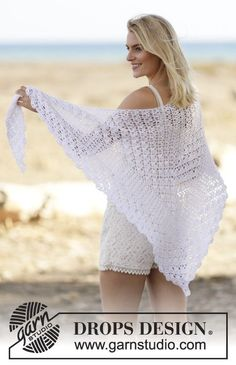 "'Seaside Romance' - Free Crochet Shawl Pattern with fan pattern in stripes in ""Cotton Viscose"" ~ DROPS Design"