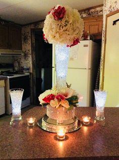 Glam wedding centerpiece Tall Wedding Centerpieces, Centrepieces, Diy Wedding Decorations, Table Centerpieces, Wedding Styles, Wedding Ideas, Founders Day, Quinceanera Ideas, Center Ideas