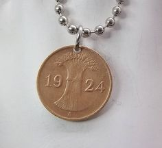 German Coin Necklace 1 Rentenpfennig Coin Pendant Ball