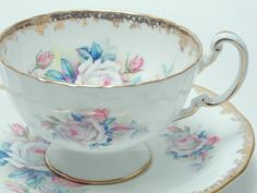 Aynsley Pink White Roses Blue Grey Leaves Heavy Gold Trim Tea Cup and Saucer Vintage Fine Bone China Made in England...♥♥...