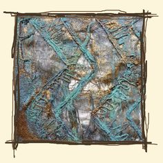 Silk and linen papers with embroidery and verdigris effect by Alysn Midgelow-Marsden