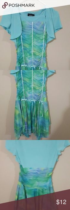 Girls dress Blue and green one piece BCX Dresses Casual