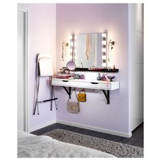EKBY ALEX/ EKBY VALTER Shelf with drawer, white, black $54.99 http://www.ikea.com/us/en/catalog/products/S49885348/ | RIBBA ledge $14.99 http://www.ikea.com/us/en/catalog/products/40126069/#/30152596 | KOLJA Mirror $9.99 http://www.ikea.com/us/en/catalog/products/94889900/ | LILLHOLMEN Triple hook $9.99 http://www.ikea.com/us/en/catalog/products/00074185/ | MUSIK Wall lamp, chrome plated $14.99 http://www.ikea.com/us/en/catalog/products/30113029/ or LEDSJÖ LED wall lamp, stainless steel