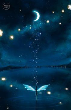 25 New ideas for fantasy art painting sky Anime Kunst, Anime Art, Fantasy Kunst, Moon Art, Anime Scenery, Nature Wallpaper, Nature Artwork, Night Skies, Amazing Art