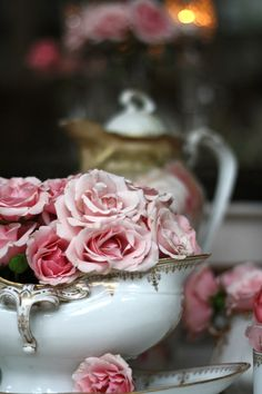 aging roses in a bowl