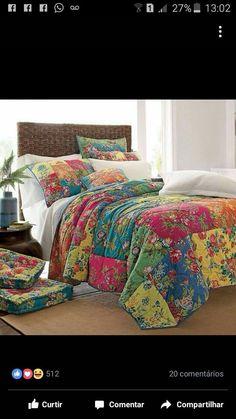 A beautiful patchwork design full of colour Quilt Bedding, Bedding Sets, Boho Bedding, Home Bedroom, Bedroom Decor, Bedroom Linens, Bedrooms, Big Block Quilts, Easy Quilts