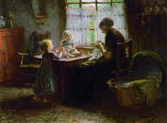 Bernardus Johannes Blommers – Interieur met een moeder en haar twee kinderen