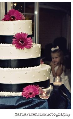 Fuschia gerbera daisies on white cake with black ribbon