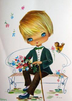 Vintage Big Eyed Boy Postcard by Nuco | by Sillyshopping