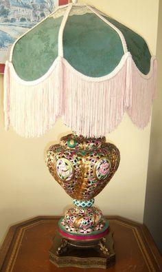 VINTAGE CAPODIMONTE COLORFUL LAMP  ~~INCLUDES VINTAGE HUGE FRINGE LAMP SHADE #ArtDeco