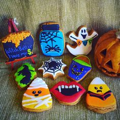 Pumpkin spice cookies decorated with royal icing for Halloween