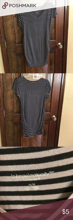 Liz Lange Maternity top GU long maternity top. Black and gray vertical stripes. Liz Lange Tops Tunics