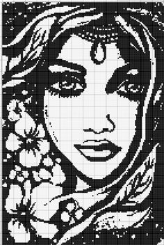 Woman's face pattern / chart for cross stitch, crochet, knitting, knotting, beading, weaving, pixel art, and other crafting projects