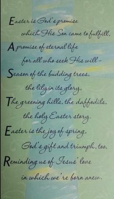 Inspirational Easter Poems Gods Promise Written And