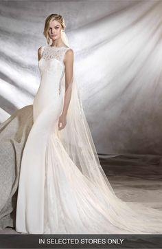 Main Image - Pronovias Oreste Crepe & Lace Mermaid Gown