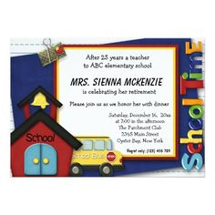 #Retirement #school #teacher Party Card Available in different #giftideas products. Check more at www.zazzle.com/graphicdesign