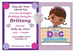 Doc McStuffins Birthday Customized Invitations. $5.00, via Etsy.