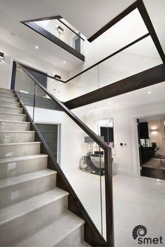 Kingswood - E - Staircases of Distinction Glass Stairs Design, Stair Railing Design, Staircase Railings, Stairways, Hart House, Stairway Lighting, Stair Case, Sliding Windows, Modern Stairs