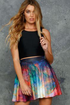 Galaxy Rainbow Pocket Skater Skirt - 48HR (AU $65AUD) by BlackMilk Clothing