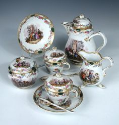 An outside decorated Meissen coffee service