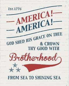 America the Beautiful Printable