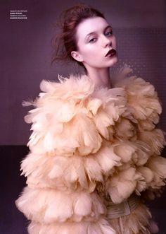 blush colored feathe