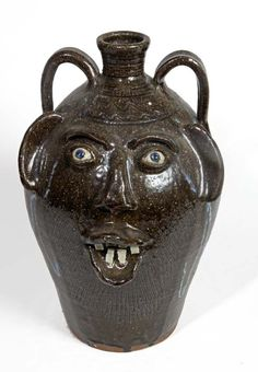 "Southern Folk Pottery-Kim Ellington-18"" face jug, glass runs, china tooth"