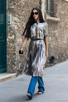 Fashion Gone rouge // metallic mix street style chic w denim flares