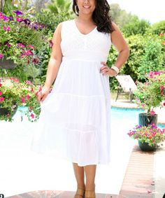 Another great find on #zulily! White Geometric Embroidered Sleeveless Dress - Plus by Ananda's Collection #zulilyfinds