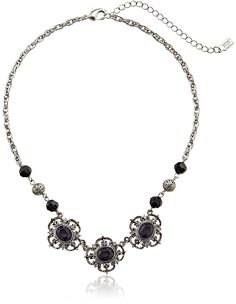 1928 Jewelry 'Jet Essentials' Silver-Tone Jet and Crystal Collar Pendant Necklace, 16' >>> Find out more about the great product at the image link.