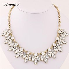 xiacaier Statement Crystal Women Chokers Jewelry Hollow Noble CZ Women Necklace Gold Color Silver Plated Colar
