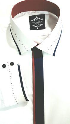 Luxury White Custom Made Shirt Panache Bespoke an Plaid Fashion Shirt Gents Kurta Design, Boys Kurta Design, High Collar Shirts, Shirt Collar Styles, Bespoke Shirts, Custom Made Shirts, Mens Designer Shirts, Designer Clothes For Men, Man Dress Design